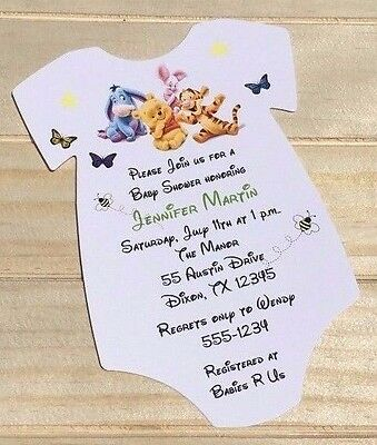 SET OF 10 Winnie The Pooh Boy or Girl Baby Shower Invitations With Envelopes (Winnie The Pooh Baby Shower Invitations)