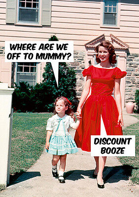 Discount Greeting Cards ('DISCOUNT BOOZE' Funny Retro Greetings Card -Blank Inside- Birthday/Mothers Day)