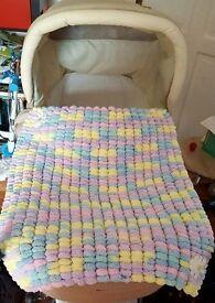 Beautiful Pram Size Multi Coloured Pom Pom Blanket