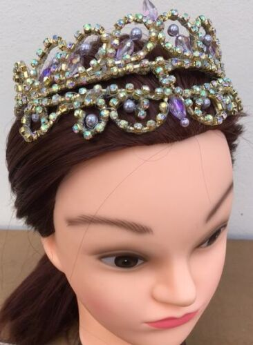 "NEW! Professional Gold AB Crystal Ballet Tiara Headpiece ""Lilac Fairy"" Odalisque"