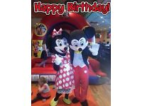 Mickey & Minnie Mouse Mascot Hire for Childrens Party Entertainment 1/2 hr £70 (manned) Cake Table