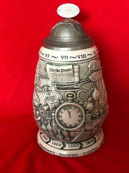 Avon Millennium 1000 Years of History Beer Stein Mug Pewter Lid Vintage 1999