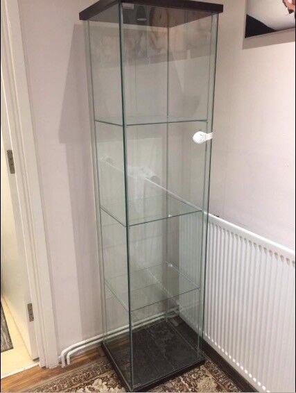 Ikea Detolf Glass Door Display Cabinet Blackbrown 43x163 Cm In