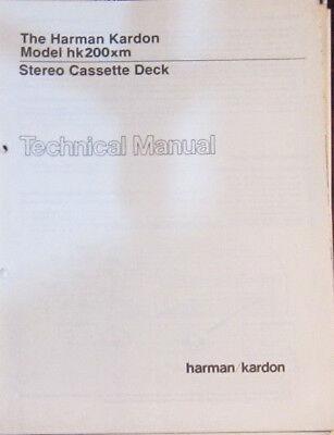 Harman Kardon hk 200xm cassette service repair workshop manual (original copy)