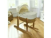 Kinder valley Cream Dimple white natural Wicker moses basket. Brand new in sealed packs.