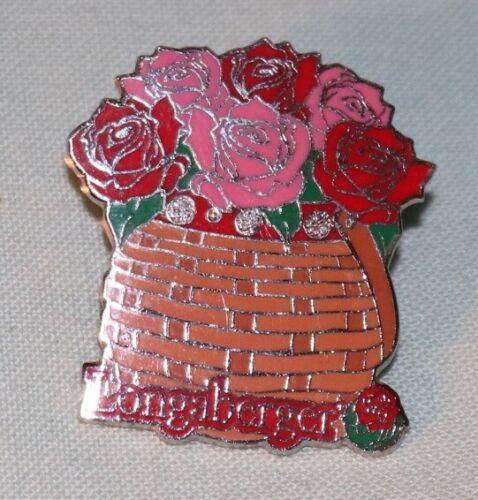 Longaberger 1994 Milestone Pin Roses Basket Enamel Award Pin
