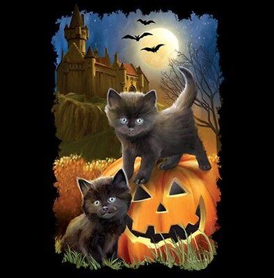 Halloween Cats & Jack O'Lantern Shirt, Kittens, Bats, Spooky Scene, Small - 5X - Spooky Scene