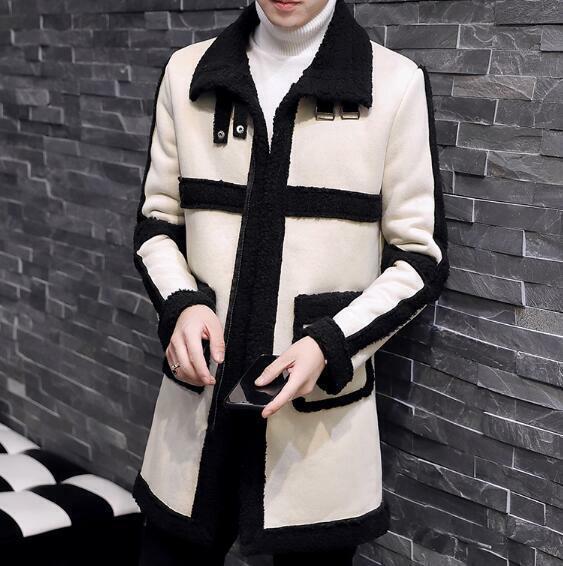 Men's Retro Peacoat Fur Lined Casual Coats Fleece Jackets Wo