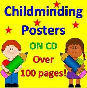 CHILDMINDING POSTERS on CD- alphabet, numbers, welcome, calendar, EYFS, menu
