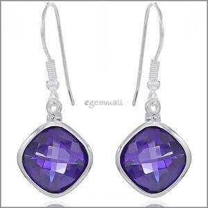 Sterling-Silver-Rhombus-Drop-Dangle-Earrings-with-CZ-Amethyst-Purple-53141
