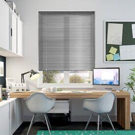 Two NEW silver aluminium venetian blinds, 60x180