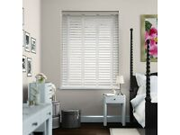 Brand New Wooden Blind - Soft White with linen straps - 1220mm wide x 985mm tall (PRICE REDUCED)