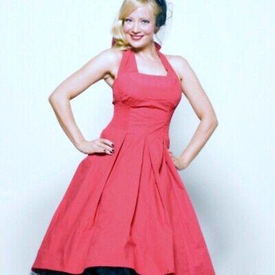 Modcloth Unique Vintage Retro 1950s 50s pink rockabilly swing halter dress S M