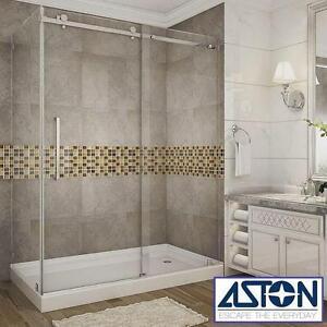 """NEW* ASTON MOSELLE SHOWER ENCLOSURE 60"""" x 35"""" x 77"""" FRAMELESS SLIDING SHOWER DOORS - CHROME - RIGHT DRAIN BASE BATH"""