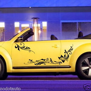 ... Decal Vinyl Graphics Side sticker Body Decals Flowers VW Beetle #1006