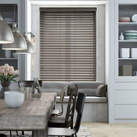 Large grey faux wood blind