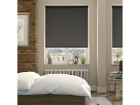 Sevilla Slate (black) Blackout Roller Blind - 109.5cm width x 115cm drop (recess) Left hand control