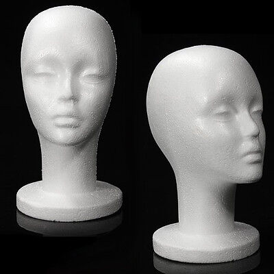 Mn-433 2 Pcs Female Styrofoam Mannequin Head With Long Neck