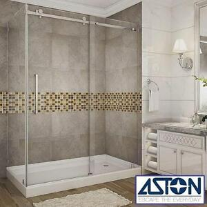 "NEW* ASTON MOSELLE SHOWER ENCLOSURE - 112158003 - 60"" x 35"" x 77"" FRAMELESS SLIDING SHOWER DOORS - CHROME - RIGHT DRA..."