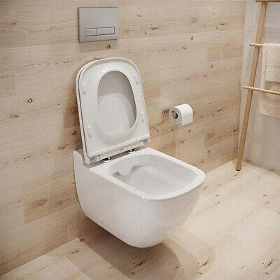 WC Toilette hängend wandhängend Spülrandlos CLEAN ON Tiefspüler Soft Close oval