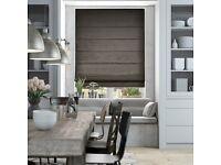 Brand New!! 2 X Dupioni Faux Silk Shimmering Grey Roman Blackout blinds.