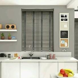 Grey wooden venetian blinds