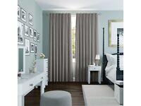 Grey Double Pinch Pleat Curtains for window 73cm width x 127cm drop