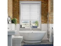 White faux wooden blinds