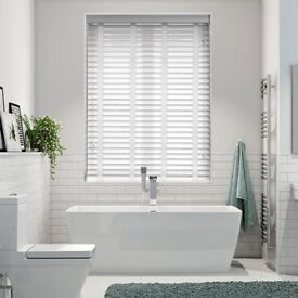 Arctic White & White Faux Wood Blind - 50mm Slat