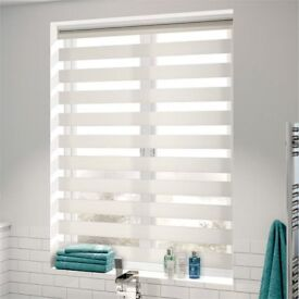 New Boxed Cream Vision Day/Night Light Filter Roller Blind - Dual Function Curtain Shade Bathroom
