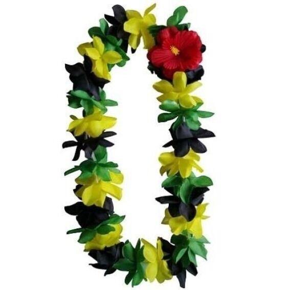 SIX Hawaiian Silk Flower Lei Luau Party Hula Wedding BLACK/GREEN/YELLOW (QTY 6 )