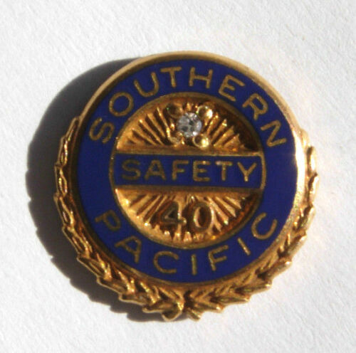 "Southern Pacific Railroad 40 Year ""Safety"" Service Pin - SP Badge"