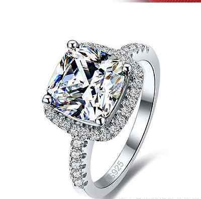 2CT 925 Sterling Silver CZ Princess Cut Halo Engagement Ring/ Promise Square ()
