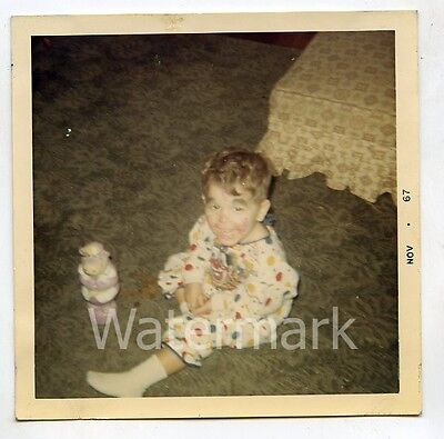 1960s  Square color snapshot Photo Boy in Clown Halloween costume #6 BY22 (Halloween Coloring Squared)