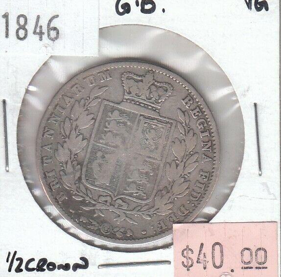 Great Britain 1/2 Half Crown 1846 Silver VG Very Good