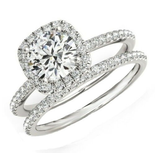 18k White Gold 2.50 Carat GIA Certified Round Shape Diamond Bridal Ring Set