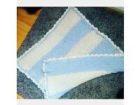 Baby Blue & White Baby Blanket