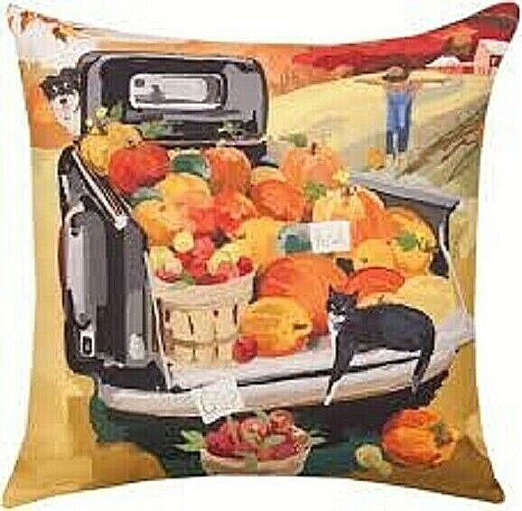 Harvest Pillow Fall Friends Thanksgiving Pumpkin Large High Quality 18″x18″ NEW Collectibles