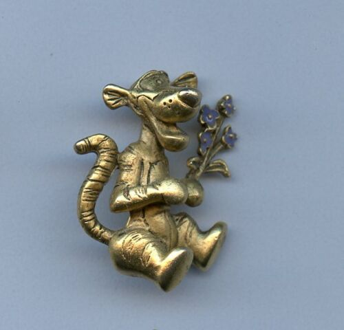 Disney Gold tone Tigger with Jeweled Flower Bouquet Jewelry Brooch Pooh Pin