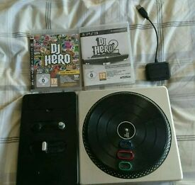 PS3 DJ Hero 1 and 2 plus Turntable