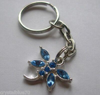 - Rhinestone Keyring Dragonfly Light Blue Charm Key Chain Silver Plated 70mm  B-DF
