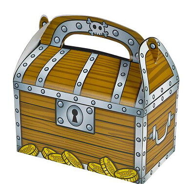 6 PIRATE TREASURE CHEST PARTY TREAT BOXES FAVORS GOODY BAGS CARNIVAL PRIZE