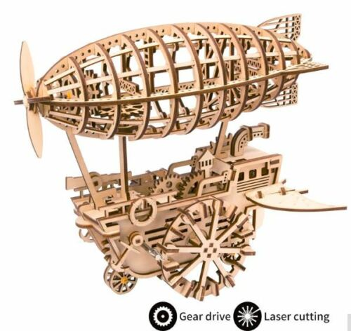 NEW 3D Wooden Puzzle Movable Airship Gear Drive by Clockwork Building Kits Toys