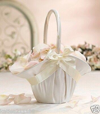 New wedding large ivory satin bow flower girl basket