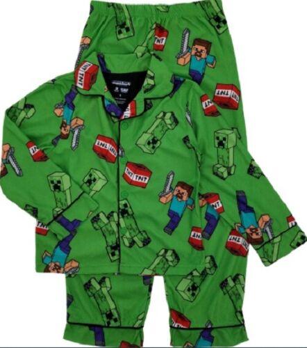 Minecraft Pajama Coat TNT Steve Creeper 2-Piece Set Mojang Sleepwear Size 10