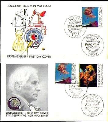 BRD 1991: Max Ernst! FDC+FDC I der Nr 1569 plus französ. Parallelausgabe! 1807
