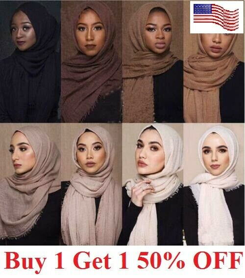 6×3 FT Cotton Women Viscose Maxi Crinkle Cloud Hijab Scarf Shawl Islam Muslim Clothing, Shoes & Accessories