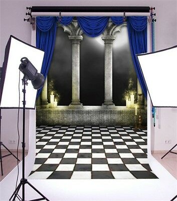 5x7' Background Moon Shadow Stone Column Curtain Photography Backdrops Studio  - Stone Backdrop