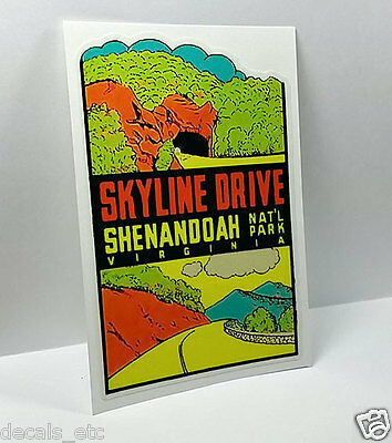 SKYLINE DRIVE- VIRGINIA Vintage Style Travel Decal, Vinyl STICKER, Luggage Label