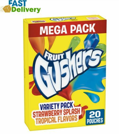 Gushers Strawberry Splash and Tropical Flavors 20 Pouches